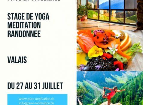 Retraite Yoga et Randonnée en Valais du 27 au 31 juillet 2020